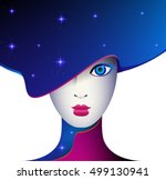 doll  girl in fashionable blue... | Shutterstock .eps vector #499130941