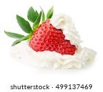 strawberey with whipped cream... | Shutterstock . vector #499137469