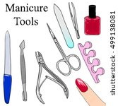 a set of tools for manicure....   Shutterstock .eps vector #499138081