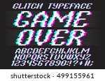 glitch typeface game over.... | Shutterstock .eps vector #499155961