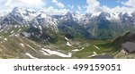 panoramic shot of snow capped... | Shutterstock . vector #499159051