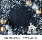 christmas card with house and... | Shutterstock . vector #499163851