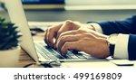 business man hands typing... | Shutterstock . vector #499169809