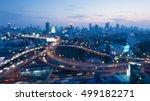 abstract blurred lights highway ... | Shutterstock . vector #499182271