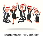 business people in christmas... | Shutterstock .eps vector #499186789