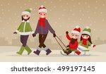happy family walking outdoors... | Shutterstock .eps vector #499197145