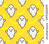 ghost pattern in doodle cartoon ... | Shutterstock .eps vector #499200499