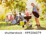 granddaughter making barbecue... | Shutterstock . vector #499206079