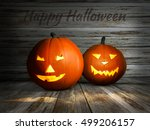 jack lantern with candle light... | Shutterstock . vector #499206157