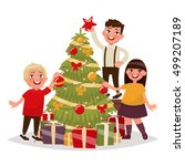 happy children decorate the... | Shutterstock .eps vector #499207189
