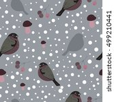 seamless pattern with bullfinch ... | Shutterstock .eps vector #499210441