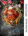 roasted pork ham with... | Shutterstock . vector #499215931