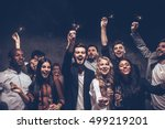 party with friends. group of... | Shutterstock . vector #499219201