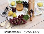 fresh fruits grapes  pear  plum ... | Shutterstock . vector #499231279