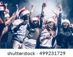 enjoying new year party. group... | Shutterstock . vector #499231729