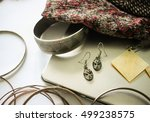 silver italian venetian masks... | Shutterstock . vector #499238575