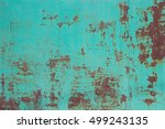 green rusty metal texture... | Shutterstock . vector #499243135