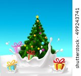 christmas tree and gifts... | Shutterstock .eps vector #499243741