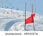 Ski Gates With Flag Red And...