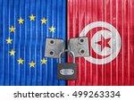 eu and tunisia flag on door... | Shutterstock . vector #499263334