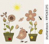 set of nature textile stickers | Shutterstock .eps vector #499265191