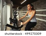 cardio workout in gym by... | Shutterstock . vector #499270309