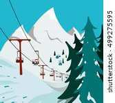 ski resort. ski lift in the... | Shutterstock .eps vector #499275595