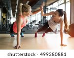 beautiful women working out in... | Shutterstock . vector #499280881