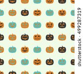 halloween seamless pattern with ... | Shutterstock .eps vector #499287319