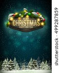 vector wooden christmas and new ... | Shutterstock .eps vector #499287859