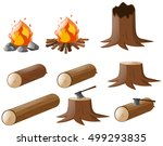 set of firewoods and campfire... | Shutterstock .eps vector #499293835