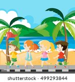 boys and girls walking along... | Shutterstock .eps vector #499293844