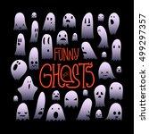 big set of cartoon spooky scary ... | Shutterstock .eps vector #499297357