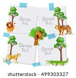 paper template with animals in... | Shutterstock .eps vector #499303327