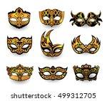 festive masks isolated on white ... | Shutterstock .eps vector #499312705