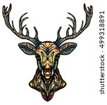 ethnic totem of a deer. a... | Shutterstock .eps vector #499318891