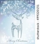 hand drawn christmas deer  on... | Shutterstock .eps vector #499320151