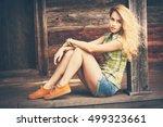 beautiful street style fashion... | Shutterstock . vector #499323661