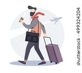 tourist. hipster man with a... | Shutterstock .eps vector #499324204