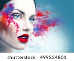 fashion model girl portrait... | Shutterstock . vector #499324801