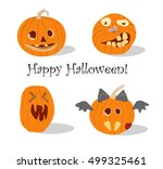 vector set of pumpkins  happy... | Shutterstock .eps vector #499325461