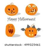 vector set of pumpkins  happy... | Shutterstock .eps vector #499325461