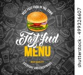fast food menu template in hand ... | Shutterstock .eps vector #499326607