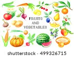 watercolor set of fruits and... | Shutterstock . vector #499326715