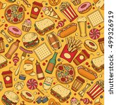 fast food seamless pattern in... | Shutterstock .eps vector #499326919