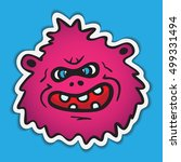 purple cartoon monster face.... | Shutterstock .eps vector #499331494