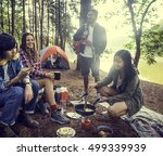 friends camping eating food... | Shutterstock . vector #499339939