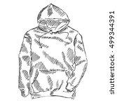 men's hooded sweat shirt... | Shutterstock .eps vector #499344391