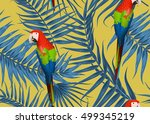 seamless tropical parrot bird... | Shutterstock .eps vector #499345219