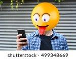 emoji head man using a... | Shutterstock . vector #499348669
